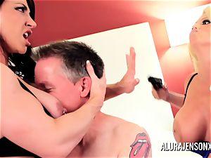 Alura Jenson cougar threesome bang with Brandi May
