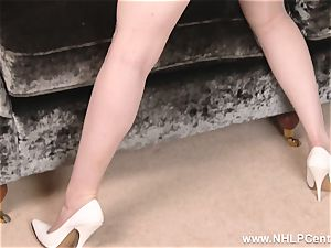 buxom redhead drains in lingerie vintage nylons