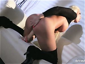 molten light-haired Britney teases & puts immense plaything in her vulva