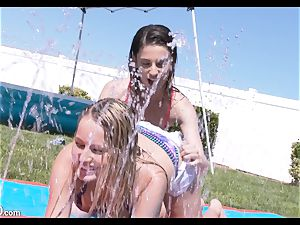 Scarlett Sage and Kristen Scott greased up and vag popped with stiff dick