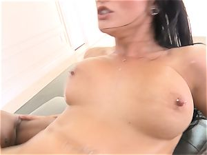 Creaming inwards stunning black-haired Katrina Jade