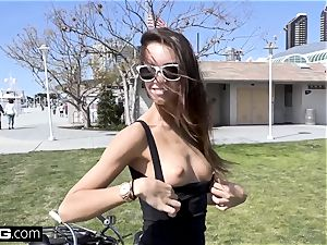 Charity Crawford gets her snatch stretched outdoors