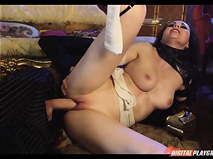 Tina kay has ample flow on her fantastic nice face from frankenstein