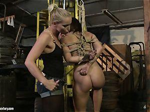 Kathia Nobili smacking the arse of super-hot girl with flog