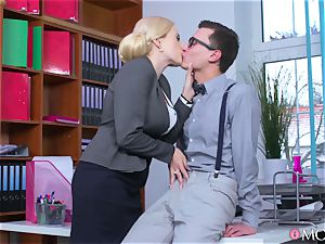 young programmer bangs his insane mature headmistress Angel Wicky
