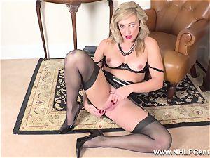blond finger nails raw vulva in girdle vintage nylons