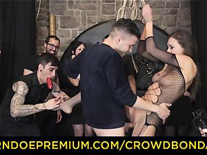 CROWD bondage - extraordinary sadism & masochism fuck wheel with Tina Kay