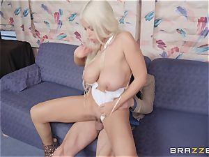 mischievous light-haired Bridgette B getting double penetration