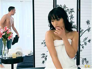 insane asian stunner Ayumu Kasi glides horny draped man-meat in her minge