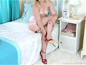 blond vulva have fun in antique bra garter sheer nylons