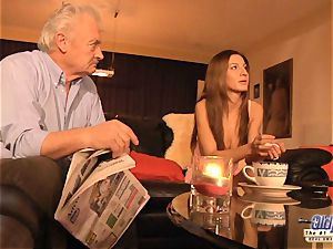 grandfather is banged by super-cute damsel in News vs Romantic