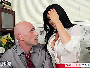 Office babe in high high-heeled slippers Romi Rain screwing