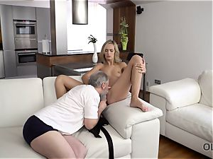 OLD4K. sweetheart takes part in passionate bang-out with fantastic senior dad
