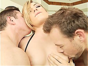 Dahlia Sky fucked firm by a horde of guys
