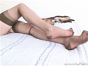 towheaded milf slides of undies high-heeled shoes pummels toy in nylons
