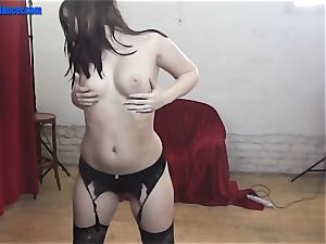 Dance and handjob by humid cunny nubile