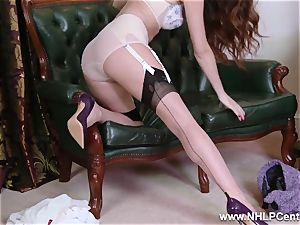 stunner unwraps to nylons high-heeled shoes to plaything her cooch