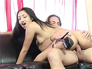 Scintillating Vicky pursue gets plastered with jism