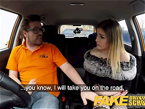 faux Driving school puny learner with puny breasts