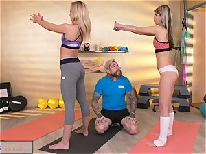sport apartments horny nymphs entice big trouser snake gym trainer