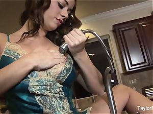 Taylor Vixen plays with her coochie in the kitchen bury